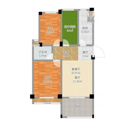 锦绣龙城八期鎏园2室2厅1卫1厨100.00㎡户型图