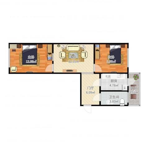 乐福里6-7-6042室1厅1卫1厨67.00㎡户型图