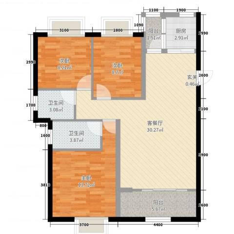 �Z湖世纪城3室2厅2卫1厨109.00㎡户型图