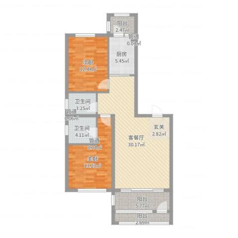 萧乡明珠2室2厅2卫1厨100.00㎡户型图