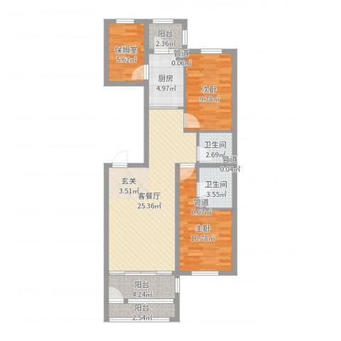 萧乡明珠2室2厅2卫1厨90.00㎡户型图