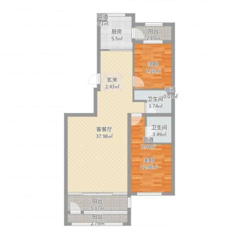 萧乡明珠2室2厅2卫1厨105.00㎡户型图