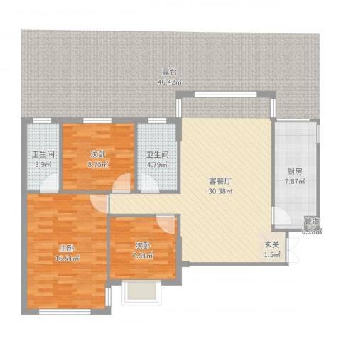银城东方3室2厅2卫1厨100.00㎡户型图