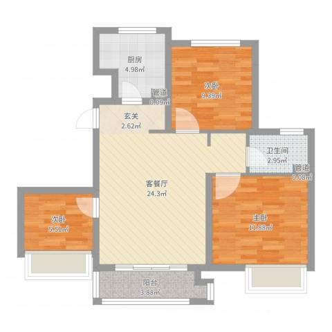 象屿上海年华3室2厅1卫1厨79.00㎡户型图