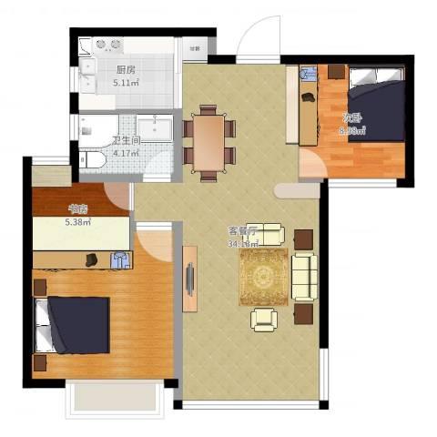 绿地玫瑰城2室2厅1卫1厨90.00㎡户型图