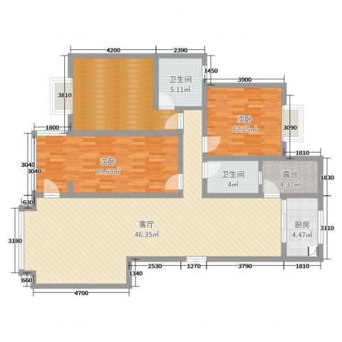 浩宇大城2室1厅2卫1厨139.00㎡户型图