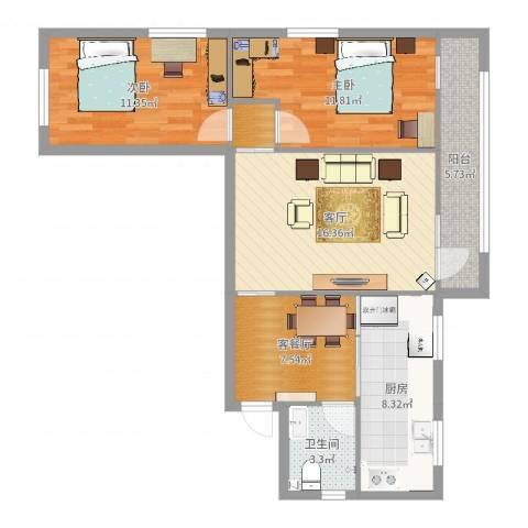 车道沟南里2室3厅1卫1厨82.00㎡户型图