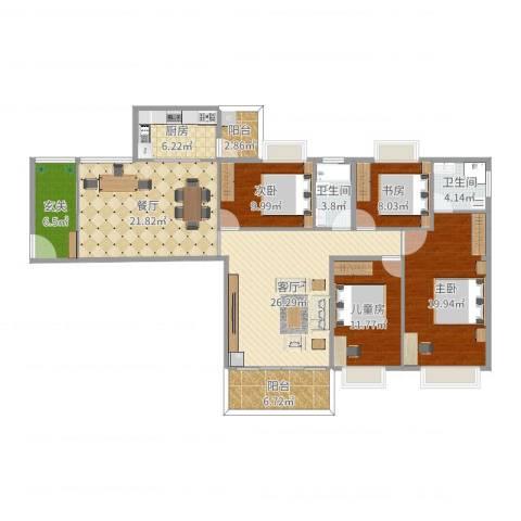 世纪华庭4室2厅2卫1厨160.00㎡户型图