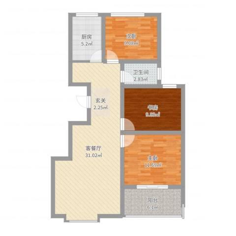 时代中通首府3室2厅1卫1厨95.00㎡户型图
