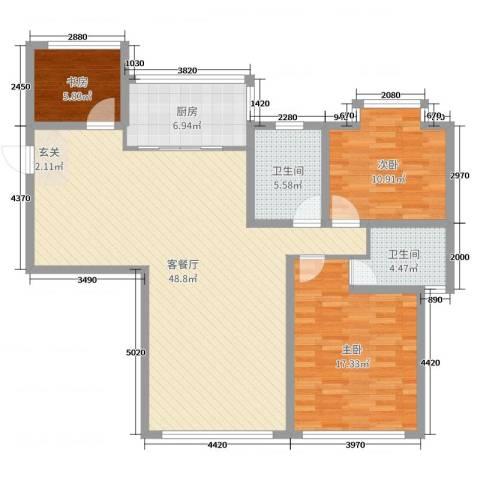 加州・阳光城3室2厅2卫1厨128.00㎡户型图