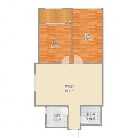 清华苑2室2厅1卫1厨90.00㎡户型图