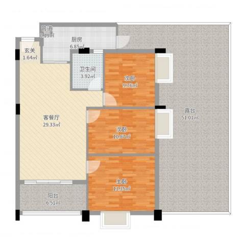 嘉豪雅苑3室2厅1卫1厨165.00㎡户型图