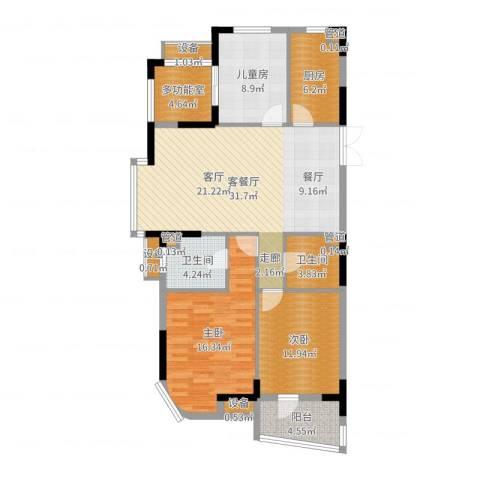 星月花园3室2厅2卫1厨119.00㎡户型图