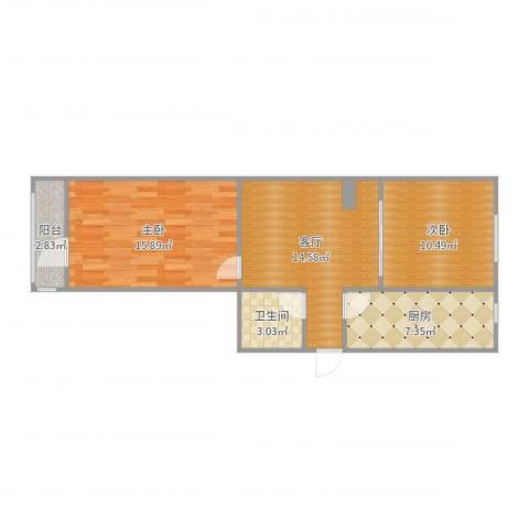 建功北里2室1厅1卫1厨68.00㎡户型图