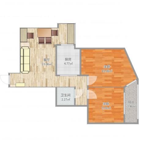 北苑家园紫绶园2室1厅1卫1厨70.00㎡户型图