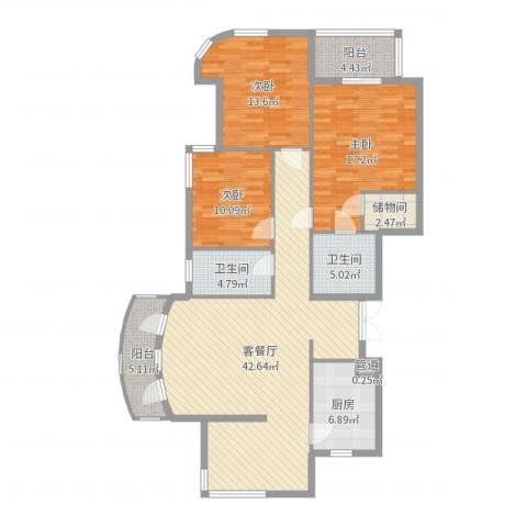 君悦国际城3室2厅2卫1厨141.00㎡户型图