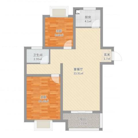 金猴北城名居2室2厅1卫1厨85.00㎡户型图