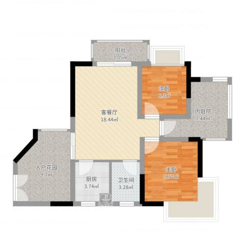 威廉城邦2室2厅1卫1厨77.00㎡户型图