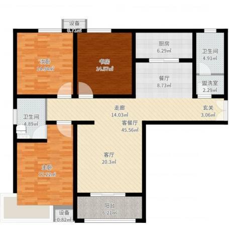 茗美花园3室2厅2卫1厨148.00㎡户型图