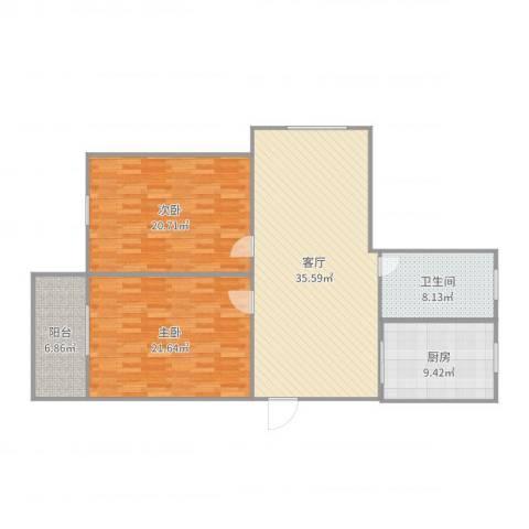 友联二村2室1厅1卫1厨128.00㎡户型图