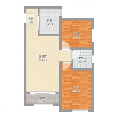 香榭水岸2室2厅1卫1厨72.00㎡户型图
