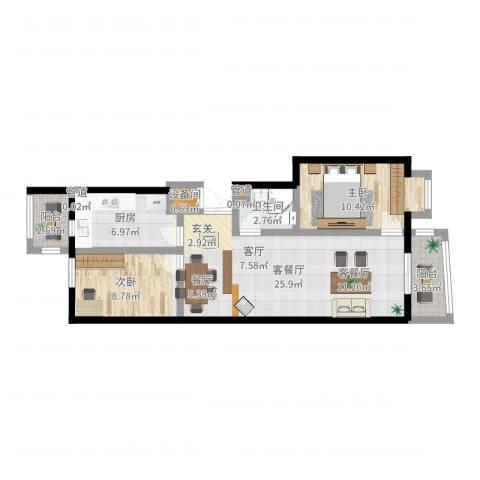 美晨家园2室2厅1卫1厨77.00㎡户型图