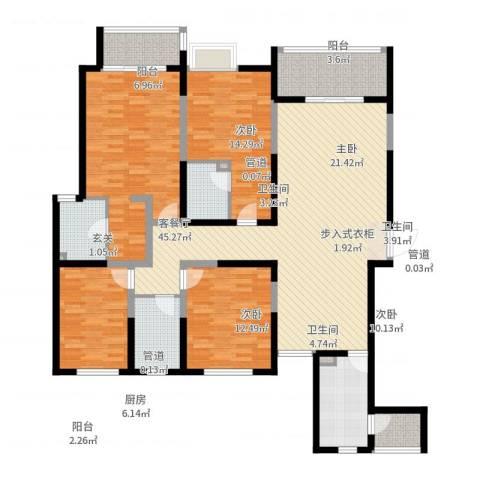名门华都4室2厅3卫1厨168.00㎡户型图