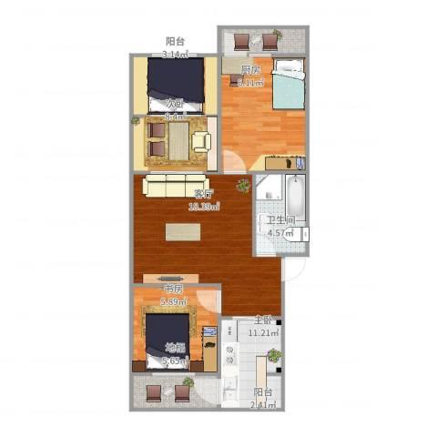 广厦中里2室1厅1卫1厨81.00㎡户型图