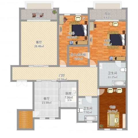 溪岸艺墅3室2厅2卫1厨230.00㎡户型图