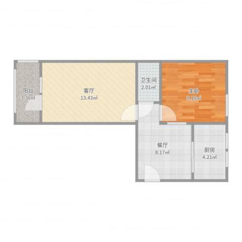 大山子南里小区1室2厅1卫1厨50.00㎡户型图