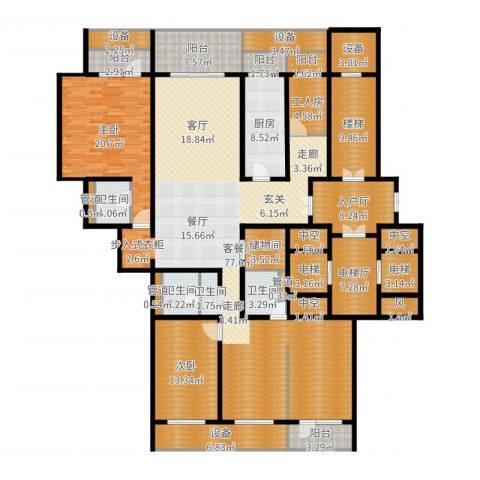 中华家园2室2厅3卫1厨263.00㎡户型图