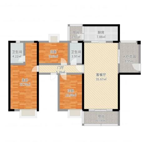 世纪华庭3室2厅2卫1厨150.00㎡户型图