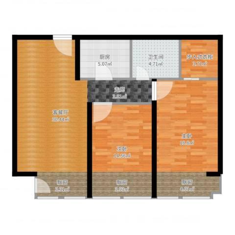 中信海港城2室2厅1卫1厨97.00㎡户型图