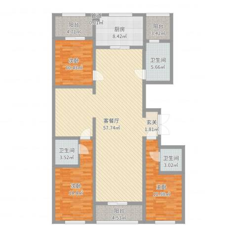 丽水阳光世纪城3室2厅3卫1厨161.00㎡户型图