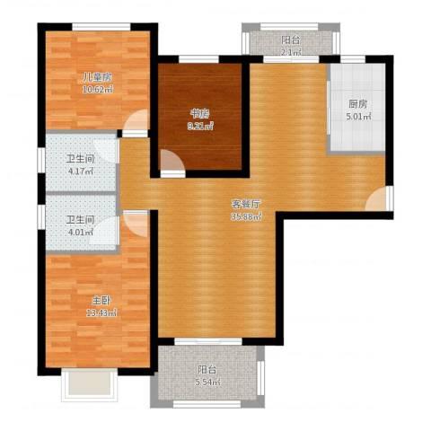 中海曲江碧林湾3室2厅2卫1厨112.00㎡户型图