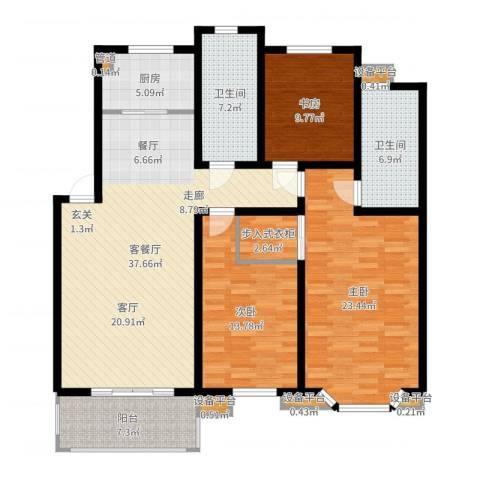 亚厦风和苑3室2厅2卫1厨144.00㎡户型图