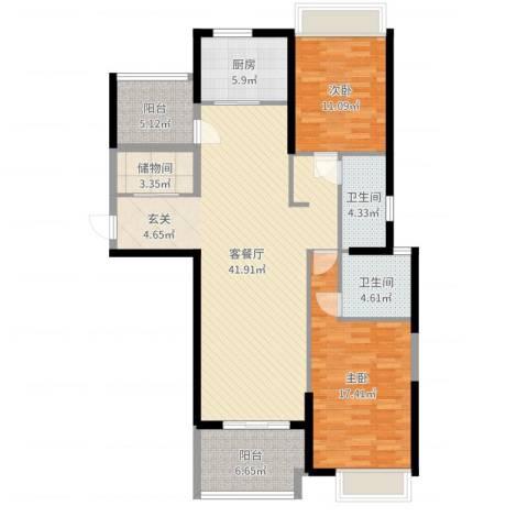 保利建业・香槟国际2室2厅2卫1厨125.00㎡户型图