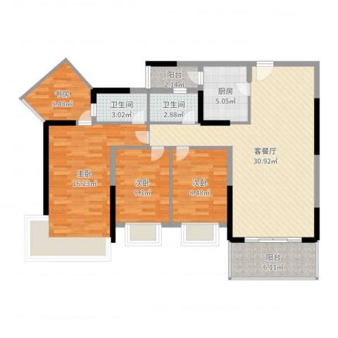 金地格林小城三期4室2厅2卫1厨111.00㎡户型图
