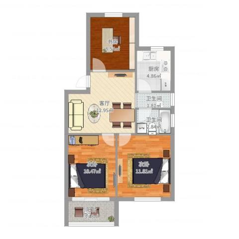 明楼东区3室1厅2卫1厨71.00㎡户型图