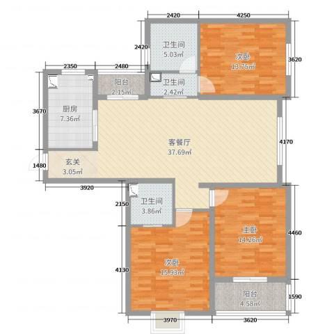 华创未来城3室2厅3卫1厨137.00㎡户型图