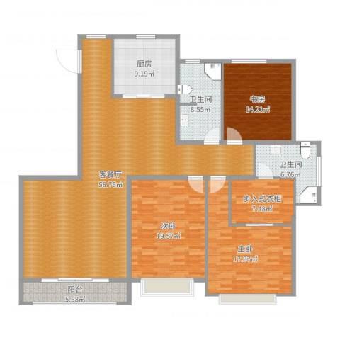 隆安东方明珠3室2厅2卫1厨185.00㎡户型图