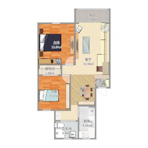 新江湾城时代花园2室1厅1卫1厨79.00㎡户型图