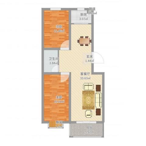 永强苑2室2厅1卫1厨91.00㎡户型图