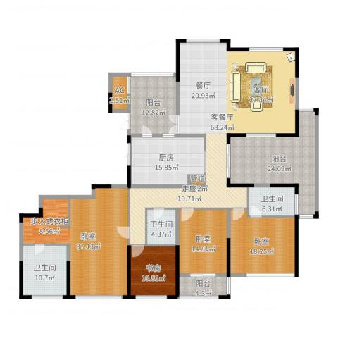 山水名家1室2厅3卫1厨289.00㎡户型图
