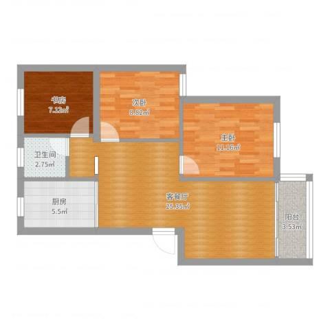 梅江东苑3室2厅1卫1厨80.00㎡户型图