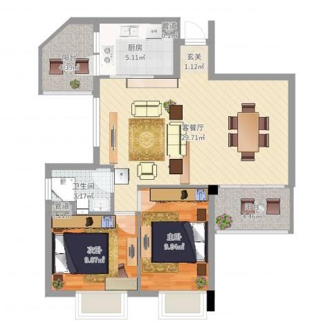 雍景园2室2厅1卫1厨82.00㎡户型图