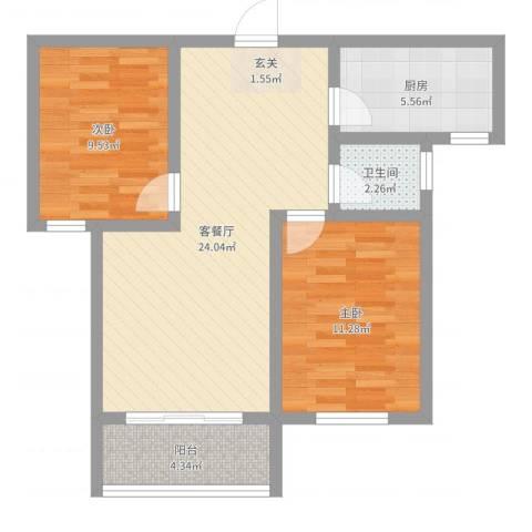 新东方世纪城2室2厅1卫1厨71.00㎡户型图