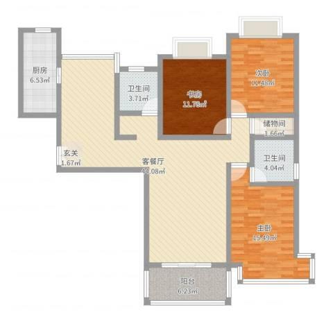 静安阳光名都3室2厅2卫1厨131.00㎡户型图