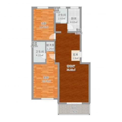 巨海城九区2室2厅2卫1厨104.00㎡户型图