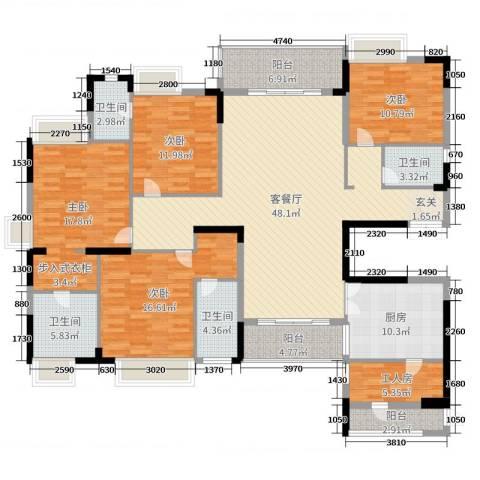 东田翠湖湾二期4室2厅4卫1厨245.00㎡户型图